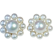 14k Luminous Pearl Rosette Pierced Earrings