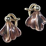14k Rose Yellow & Green Retro Pierced Earrings c1940s