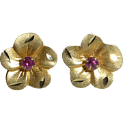 14k & Ruby Delicate Flower Post Earrings