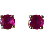 14k White Gold Ruby Post Earrings