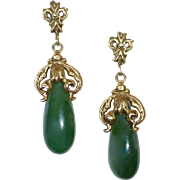 14k Spinach Jade Teardrop Earrings