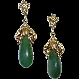 14k Spinach Jade Teardrop Earrings