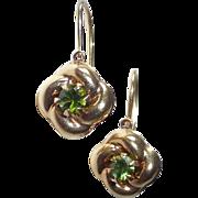 14k Green Tourmaline Leverback Pierced Earrings