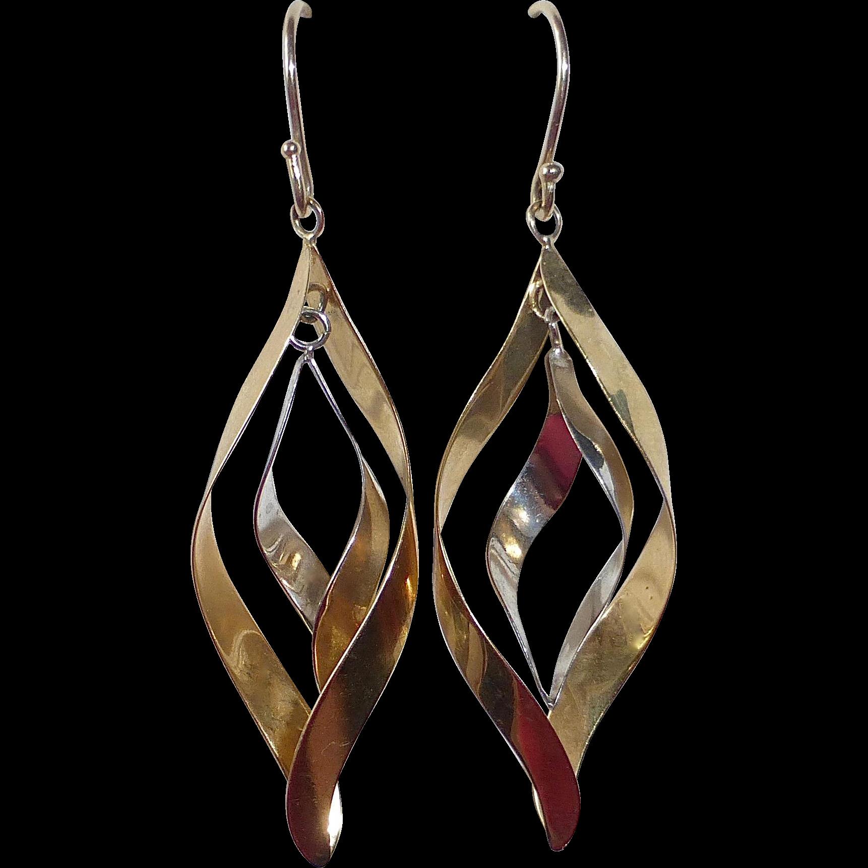 14k Yellow & White Gold Drop Earrings