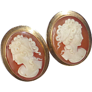 18k Carved Cameo Pretty Women Clip Earrings