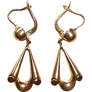 18k Yellow Gold Retro Drop Earrings