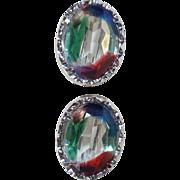 835 Silver Framed Iris Glass Screw Back Earrings