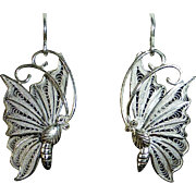Sterling 950 Filigree Butterfly in Flight Pierced Earrings