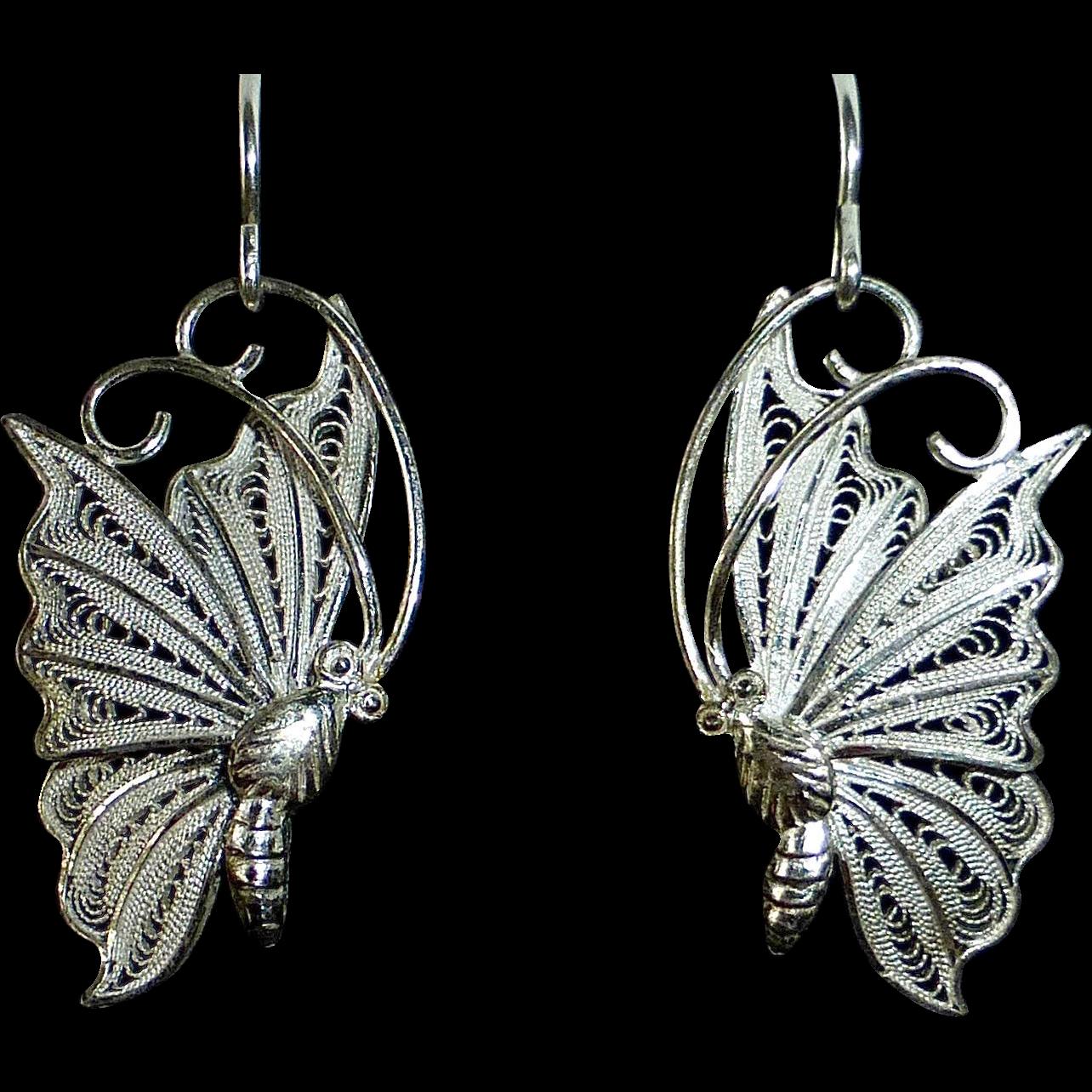 Sterling 950 Filigree Butterfly in Flight Pierced Earrings