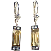 Art Deco Sterling Citrine & Seed Pearl Earrings