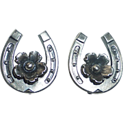 From Sterling Horseshoe Good Luck Clip Earrings