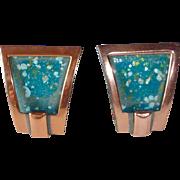 Renoir Matisse Copper & Enamel Clip Earrings