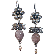 Mexican Sterling Repousse Flower Pierced Drop Earrings w Pink Sapphire Cabs