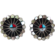 Native American Sterling Sun Face Inlay Earrings