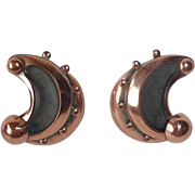 Renoir Gleaming Copper Modernist Design Clip Earrings
