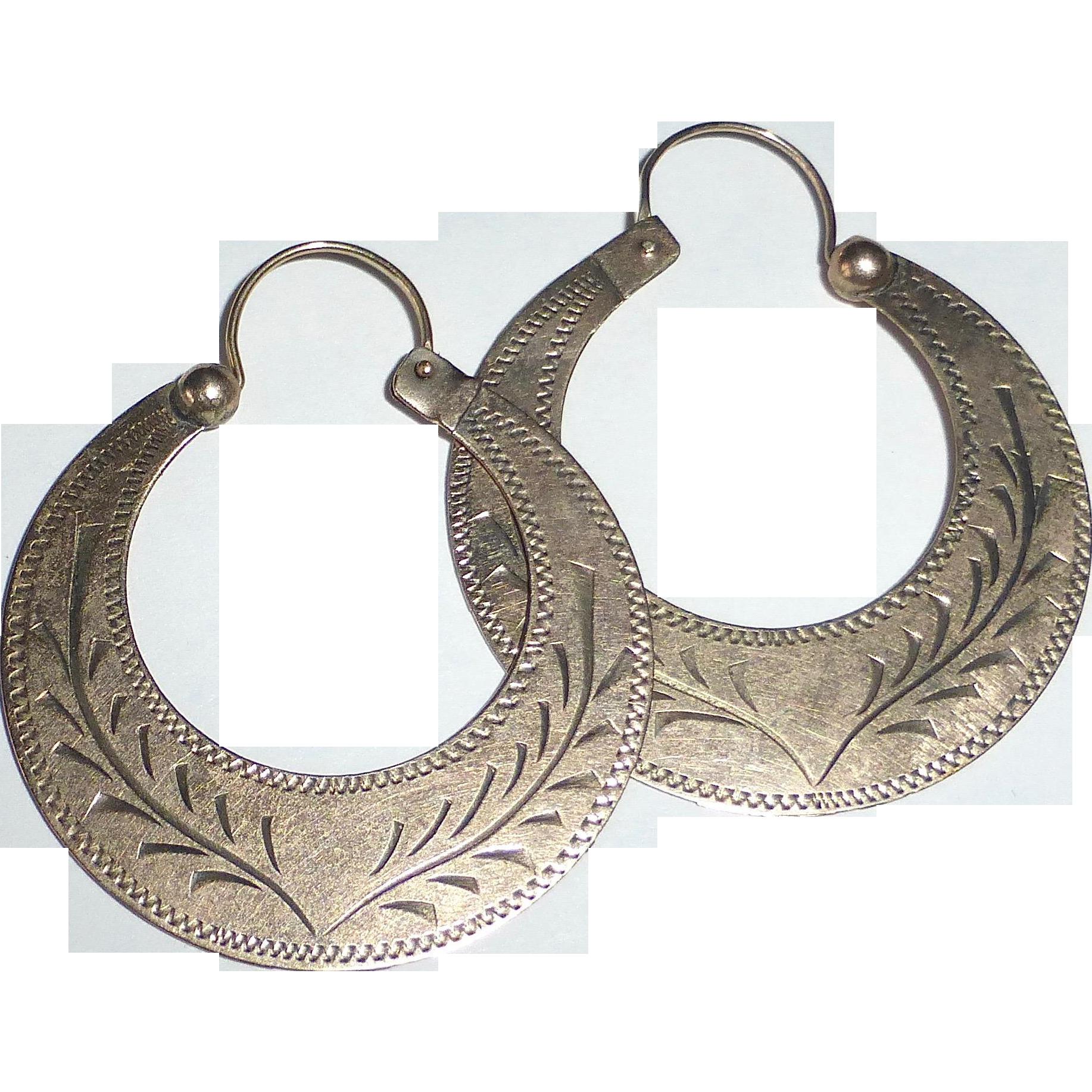 Victorian 10k Rose Gold Engraved Large Hoop Earrings