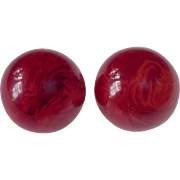 Cranberry Red EOD Bakelite Domed Clip Earrings