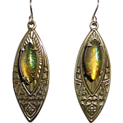 Egyptian Revival Brass Earrings w Color Change Art Glass Cabochons
