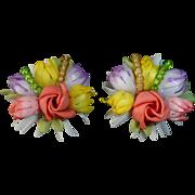 Cheery Celluloid Flower Bouquet Clip Earrings W Germany 1940s