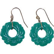 Chrysoprase Glass Donut Earrings w Impressed Design  GF Wires