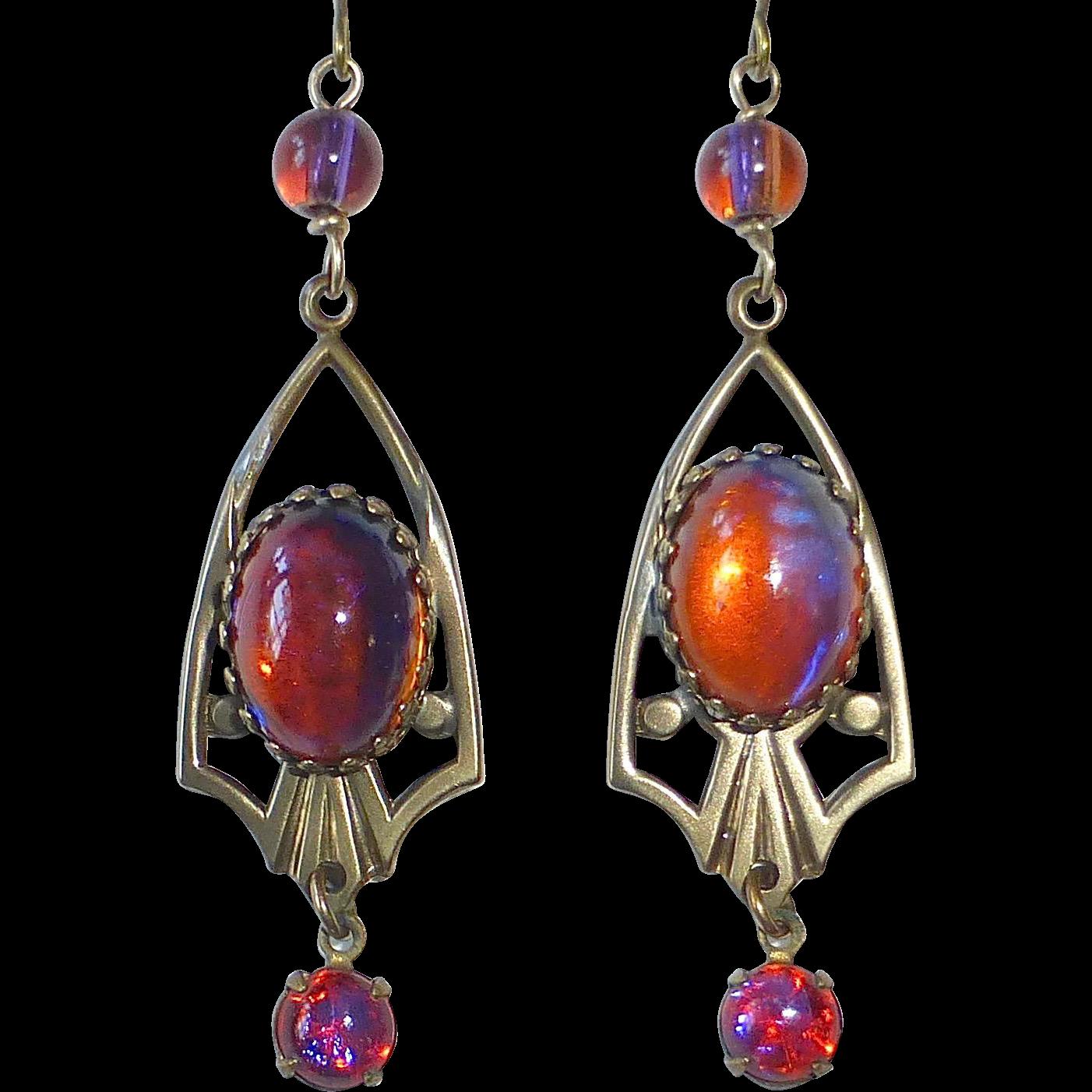 Dragons Breath Art Glass Color Change Brass Drop Earrings