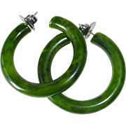 Vintage Store Stock EOD Green Bakelite Pierced Hoop Earrings