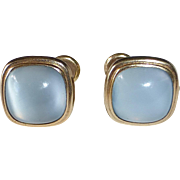 Gold Filled Blue Moonstone Glass Earrings