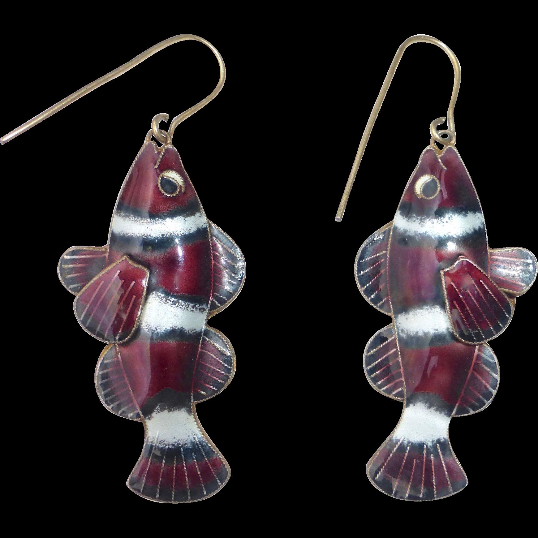 Gilt Sterling Double Sided Dimensional Enamel Clown Fish Earrings