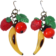 Funky Vintage Glass Fruit Earrings c1940s