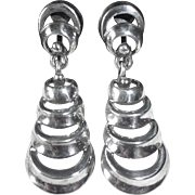 Art Deco/Retro Sterling Dimensional Tiered Drop Earrings