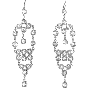 Art Deco Rhodium Plate Crystal Drop Earrings