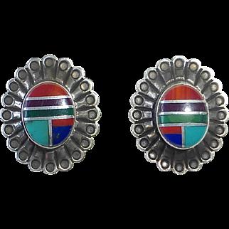 Native American Zuni Sterling & Stone Inlay Pierced Post Earrings