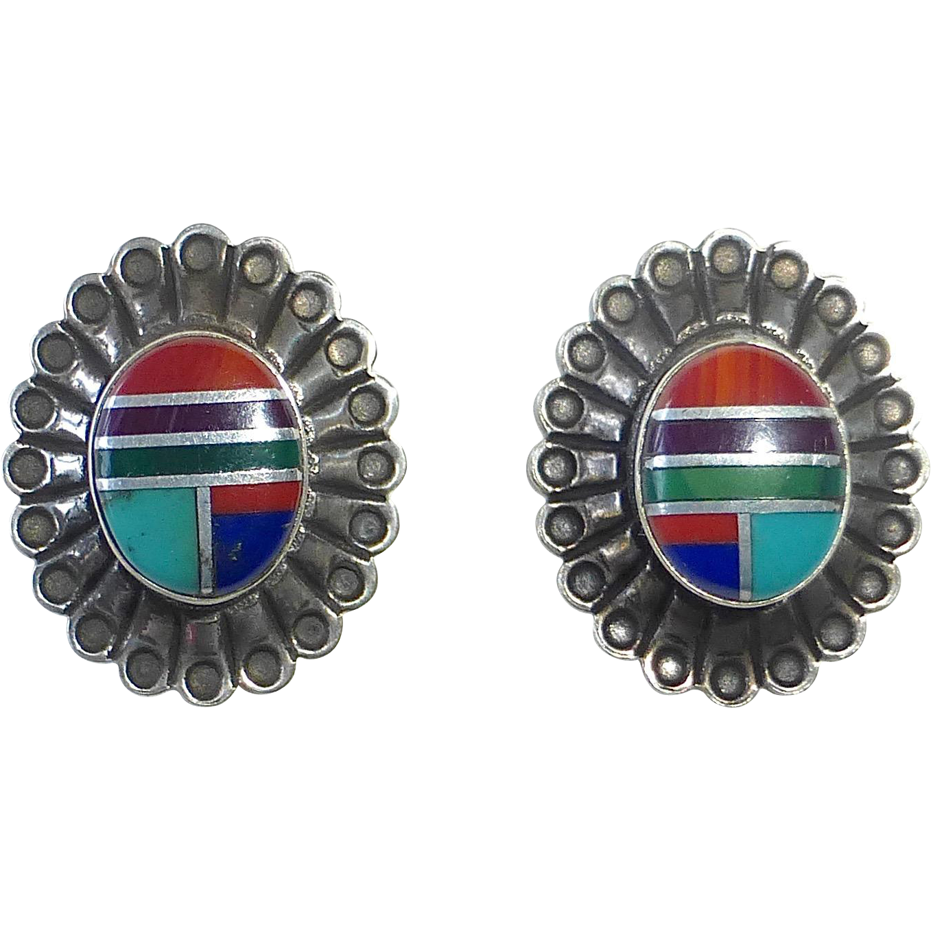 Native American Zuni Sterling & Stone Inlay Pierced Post Earrings