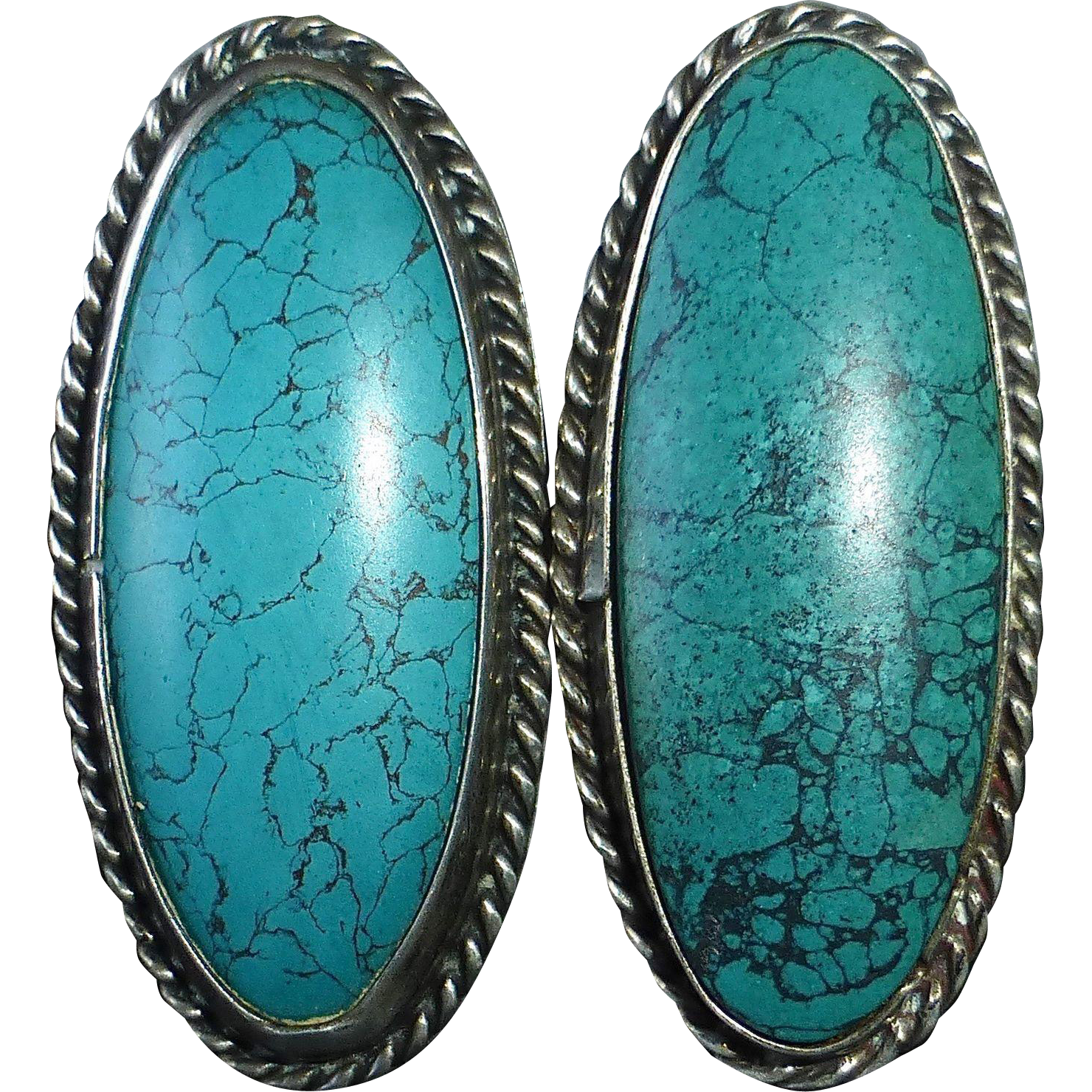 Native American Pawn Sterling & Turquoise Earrings