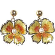 Wells Sterling & Enamel Flower Drop Earrings 14k Posts