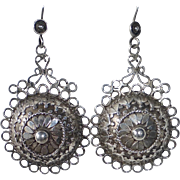 Ethnic Sterling Embellished Dome Drop Pierced Earrings