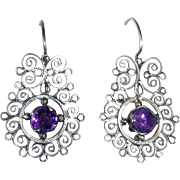 Sterling & Amethyst Filigree Pierced Earrings