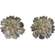 Sterling Silver Dimensional Flower Clip Earrings