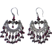 Sterling & Garnet Exotic Gypsy Style Pierced Earrings