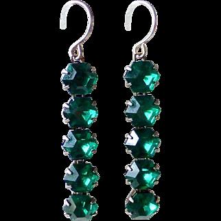 Art Deco Sterling Silver Emerald Green Paste Drop Earrings
