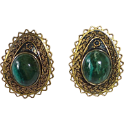 Gold Washed Sterling Israeli Filigree Clip Earrings w Eilat Stone