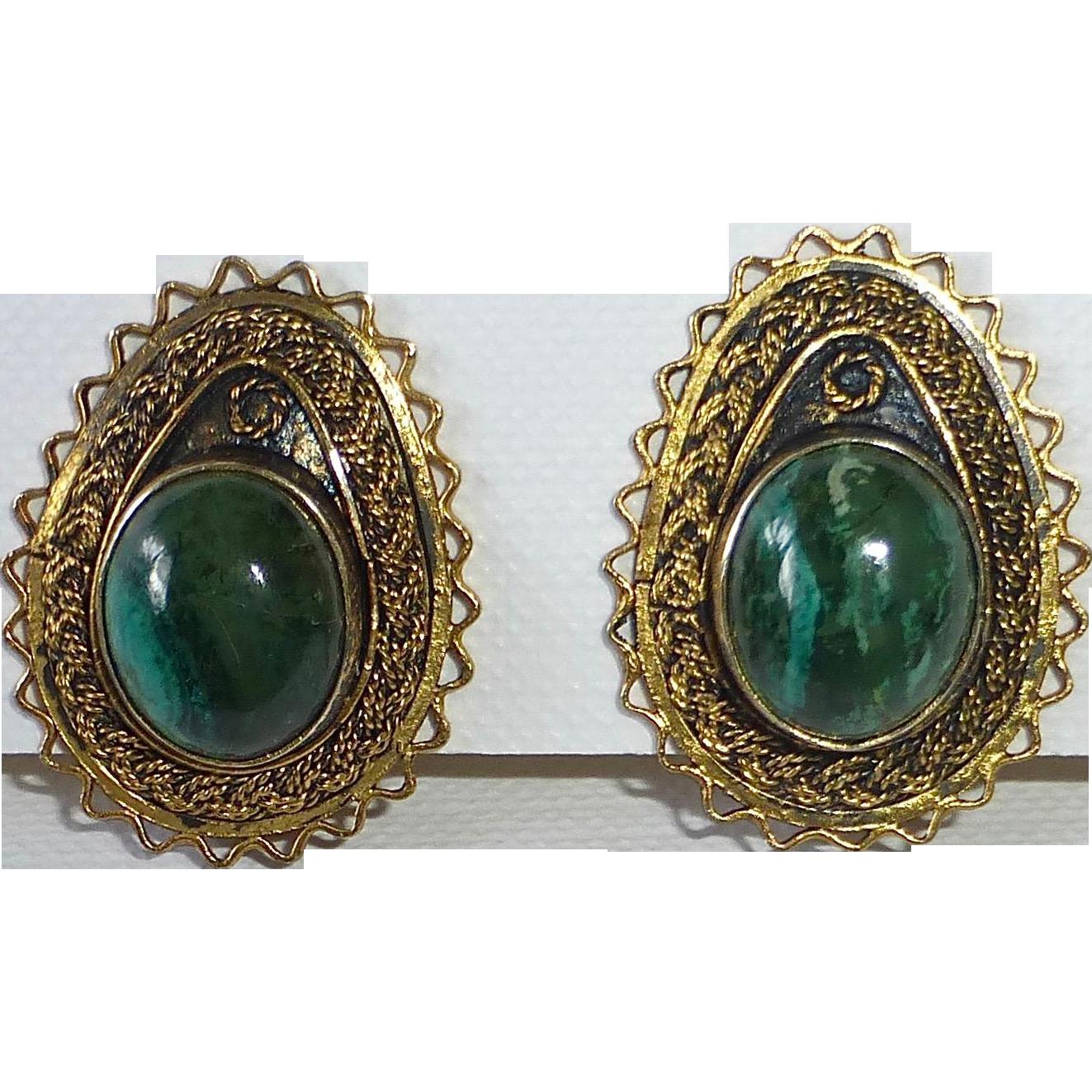 Gold Washed Sterling Israeli Filigree Clip Earrings w Eilat Stone