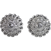 Sterling & Marcasite Layered Dome Earrings