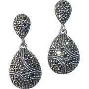 Art Deco Revival Sterling & Marcasite Teardrop Earrings
