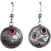 Modernist Sterling & Garnet Pierced Drop Earrings