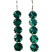Art Deco Sterling Silver Emerald Green Paste Drop Earrings