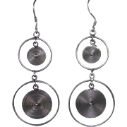 Sterling Drop Earrings Spirals in Circles