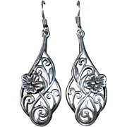 Sterling Teardrop Pierced Earrings w Floral Design