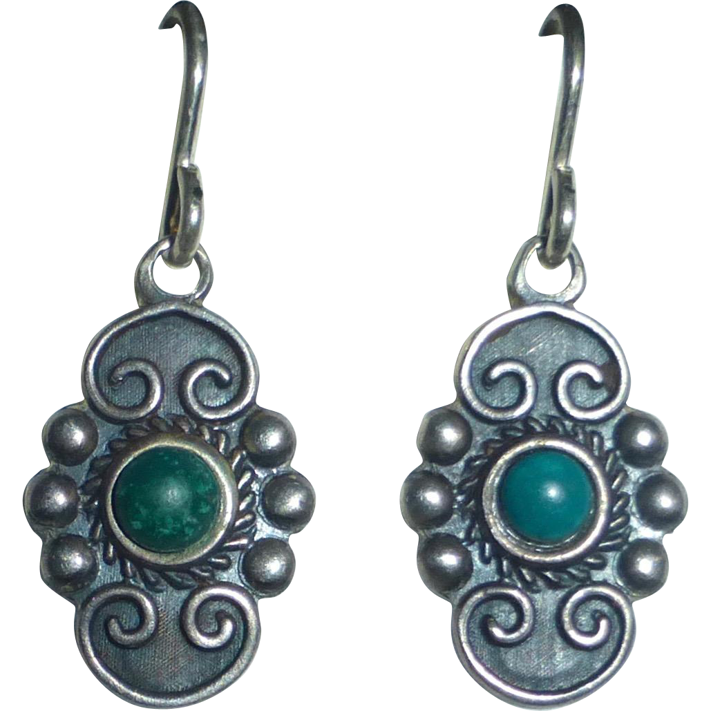 Mexican Sterling & Turquoise Eagle Stamp Petite Drop Earrings