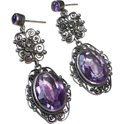 Sterling Filigree Pierced Earrings w Amethyst